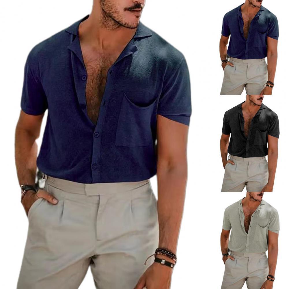 Рубашка мужская с короткими рукавами, Модная Удобная Повседневная блуза с карманами, отложным воротником, свободная, однотонная, на пуговиц...