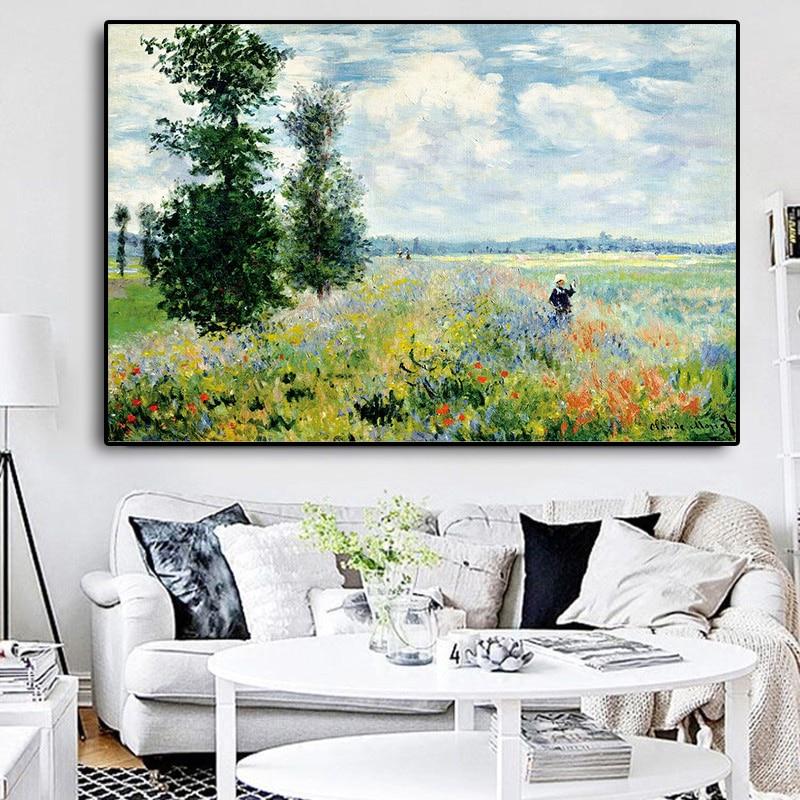 Pintura al óleo sobre lienzo con campo de amapola de Claudio Monet carteles de reproducción impresionistas Cuadros de sala de estar