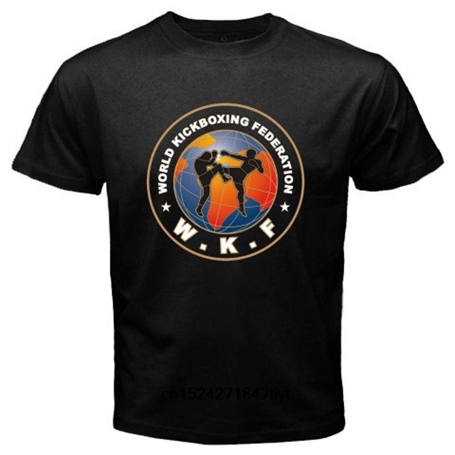 Camiseta divertida para hombre, camiseta blanca, camiseta negra, camiseta negra con el logotipo de la Federación Mundial de Kickboxing, camiseta negra para hombre
