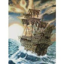 5D DIY Diamond Painting Embroidery Ship Boat Crystal Rhinestones Round Drill Needlework Gift Full Diamond Mosaic Cross Stitch