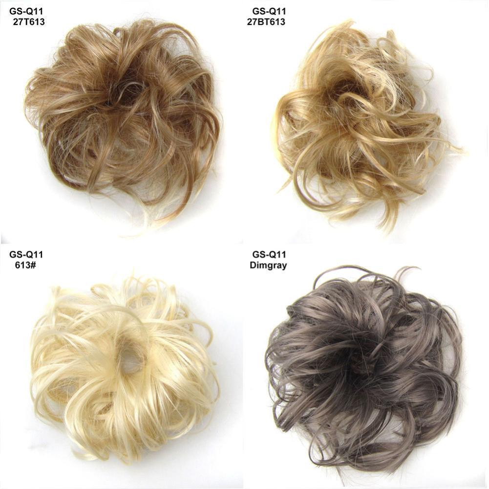 Extensión de pelo rizado grueso para mujer, extensión de moño, cubierta para cabello, postizo elástico para cabello, coletas para cabello
