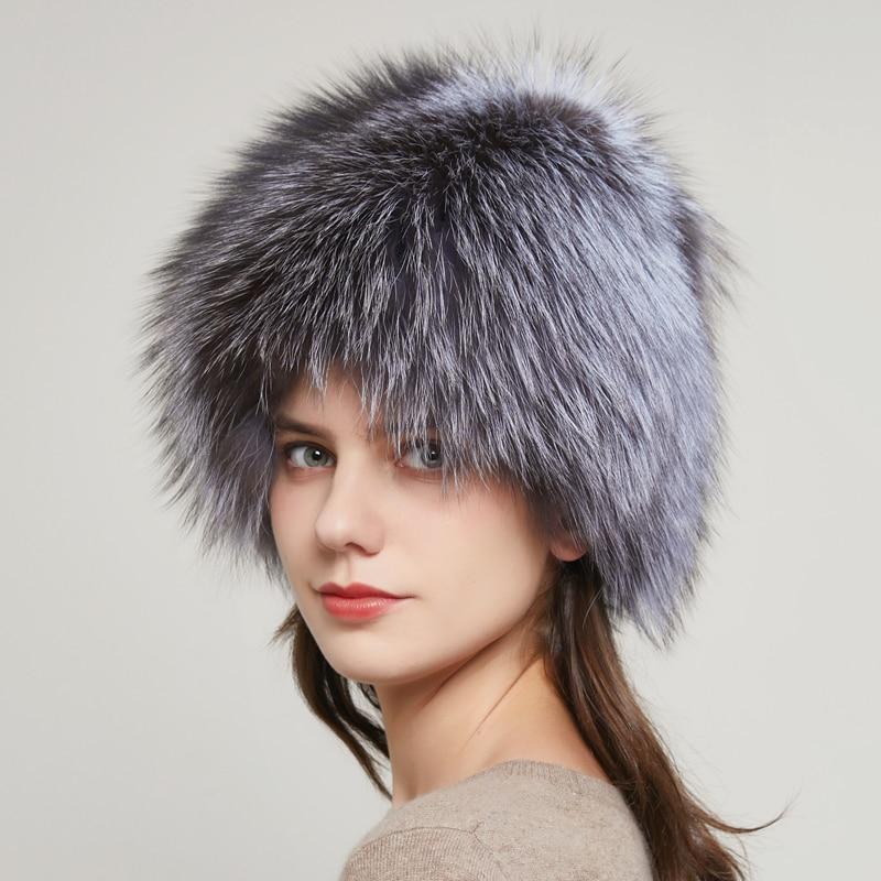 Ladies Real Natural Fox Fur Hat Winter Elastic Luxury Fur Cap Knitted Inner Lining Real Fox Edamame Russian Bomber Cap 20HY-11