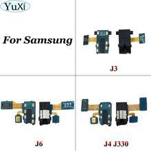 YuXi para Samsung Galaxy J3 J4 J6 2018 J600F J400 J400F J330 auriculares Jack de Audio para auriculares micrófono Flex Cable de Audio jack flex