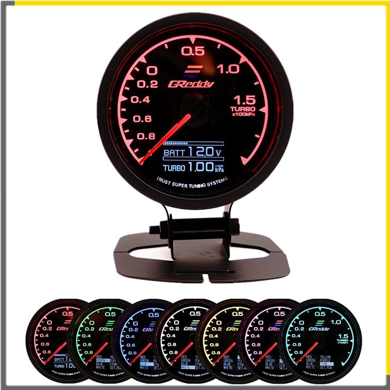 Medidor de carreras GReddi Multi D/A LCD pantalla Digital Turbo Boost calibre coche 2,5 pulgadas 62mm 7 color en 1