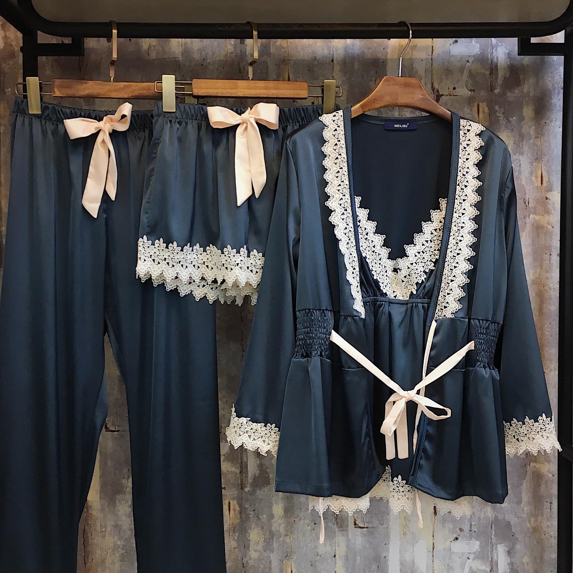 Пижамный комплект Женский из 4 предметов, пикантная одежда для сна, Шелковый Атласный кружевной пижамный комплект, Элегантная Шелковая пижа...