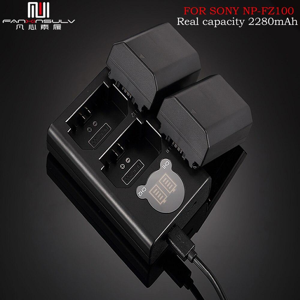 2Pc 2280mAh NP-FZ100 NPFZ100 NP FZ100 batería a7r3 micro cámara SLR para Sony A7M3 a7rIII ILCE-9 A9 BC-QZ1 a7rIV cargador de batería