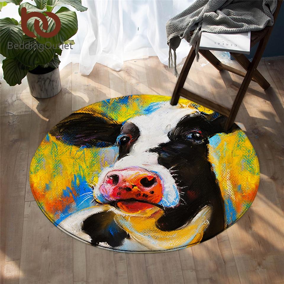 BeddingOutlet Milk Cow Bedroom Carpet Pastel Painting Round Area Rug for Living Room Farm Animal Portrait Floor Rug Mat 150cm