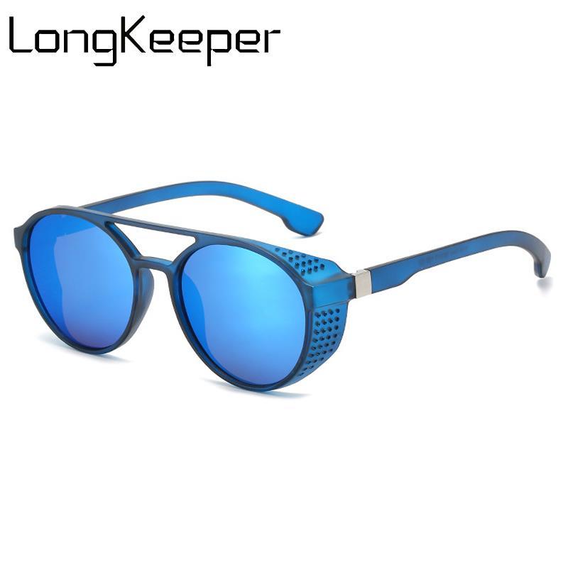 Мужские и женские солнцезащитные очки в стиле стимпанк, круглые солнцезащитные очки в стиле ретро с синими линзами, UV400