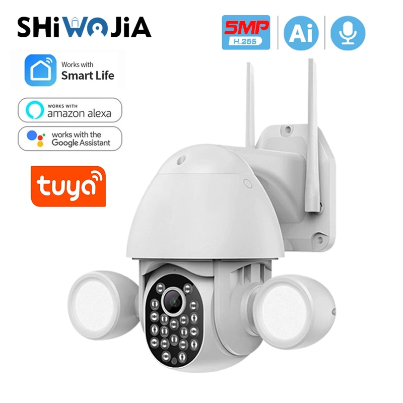 SHIWOJIA واي فاي 5MP تويا الكاشف فناء الإضاءة كاميرا AI المحمول كشف الأمن في الهواء الطلق كاميرا تلفزيونات الدوائر المغلقة مع جوجل اليكسا