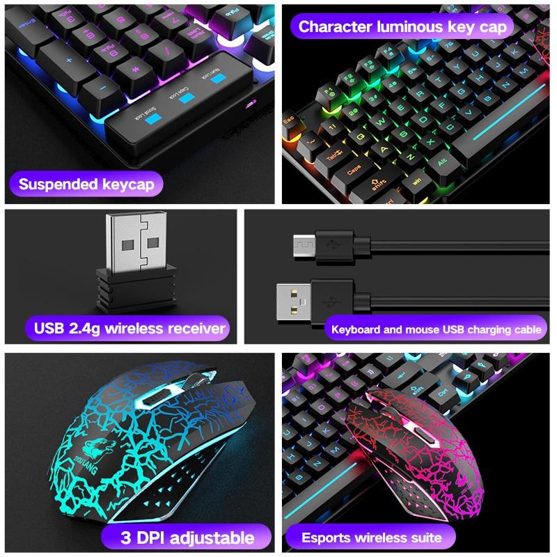 2.4G Wireless Keyboard and Mouse Protable LED Backlight 104 Keyboard 2400DPI Mouse Gamer Kit For Laptop Desktop PC Computer enlarge