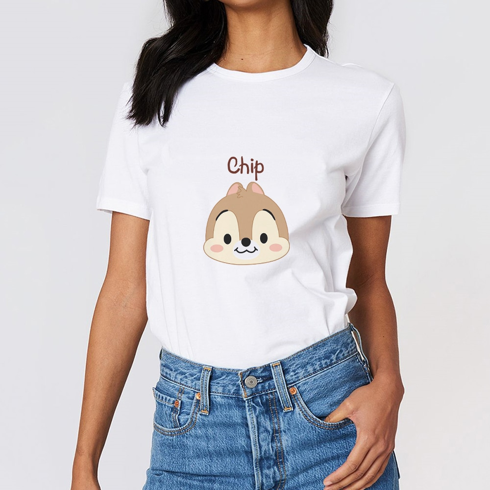 Disney Chip Dale KPOP Fashion Women T Shirt 2021 Best Friends Forever Tshirt Summer Top Girls Can Do Anything Funny Family Look