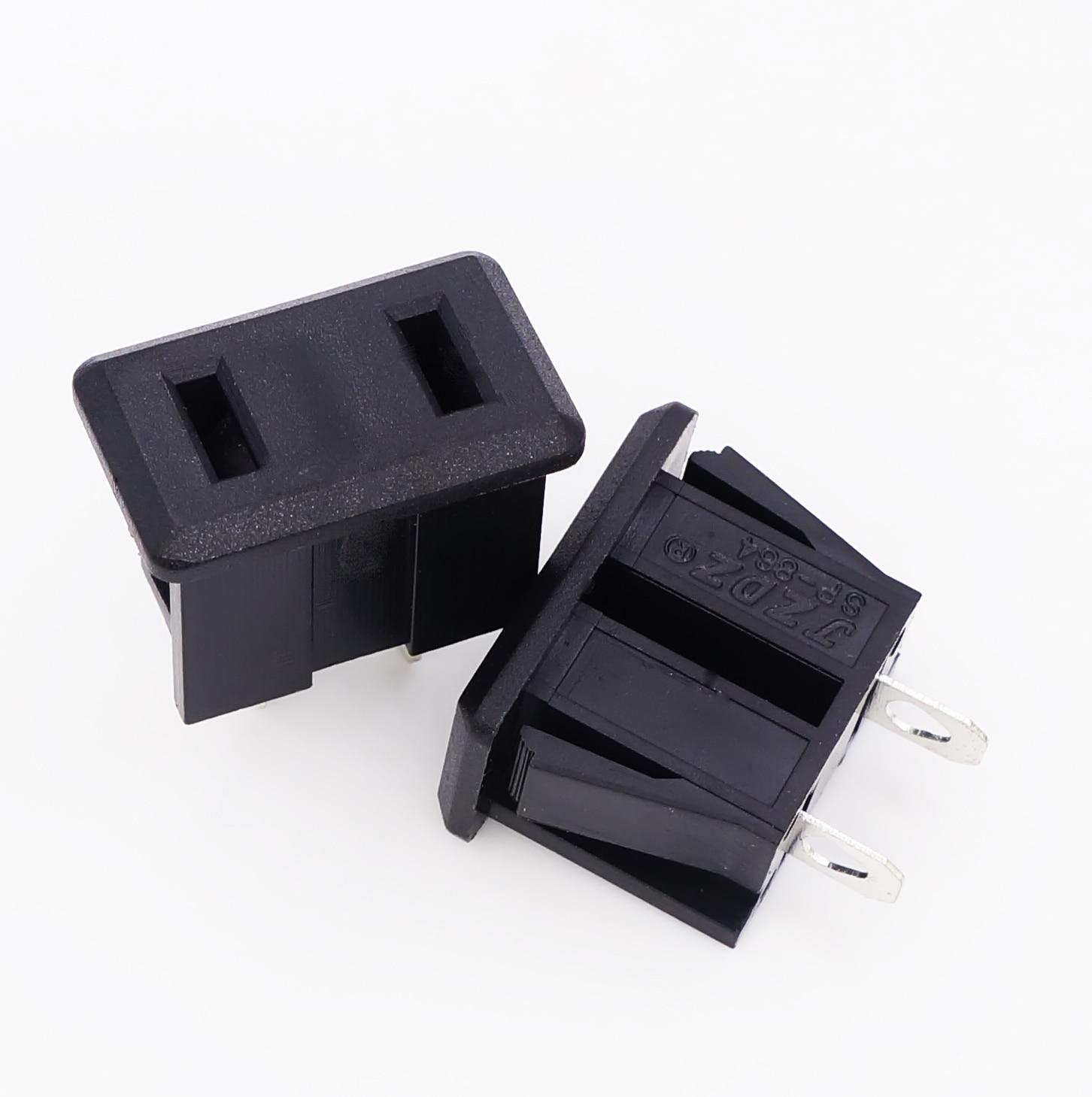 10pcs SP-864 AC 10A/250V 15A/125V US Plug Panel Mount US Outlet Power Socket 2pin Black