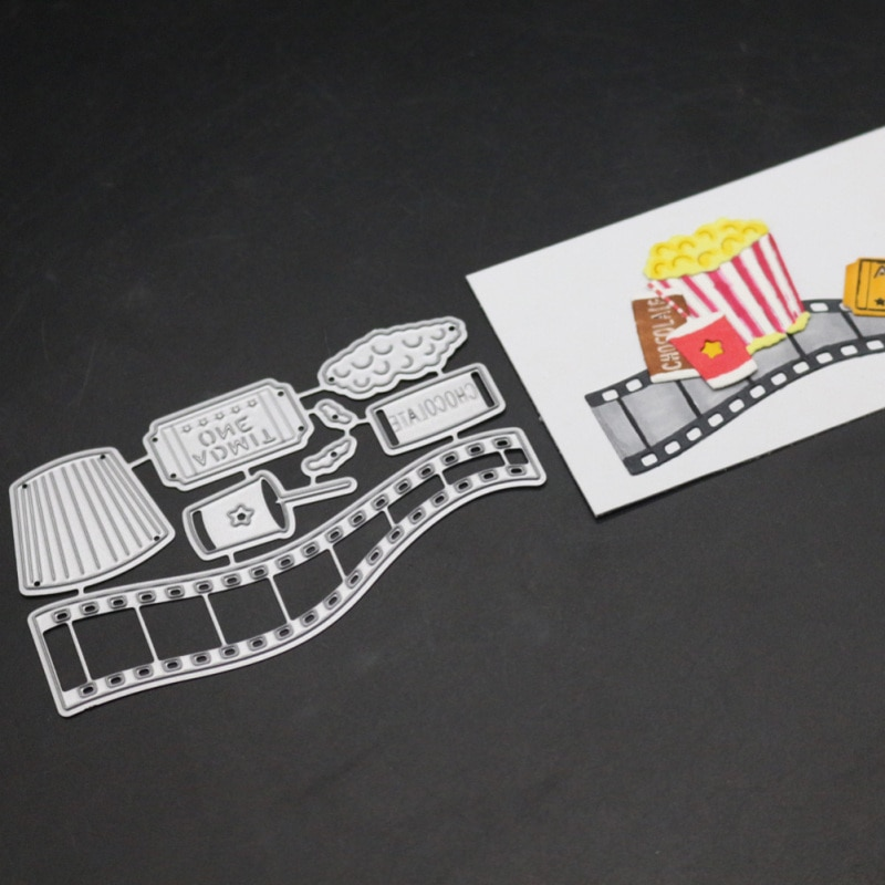 Film Popcorn Letter Metal Cutting Dies Movie Frame Drink Die Cut Christmas Stencil Scrapbooking Stamps And Dies 2019 New Craft