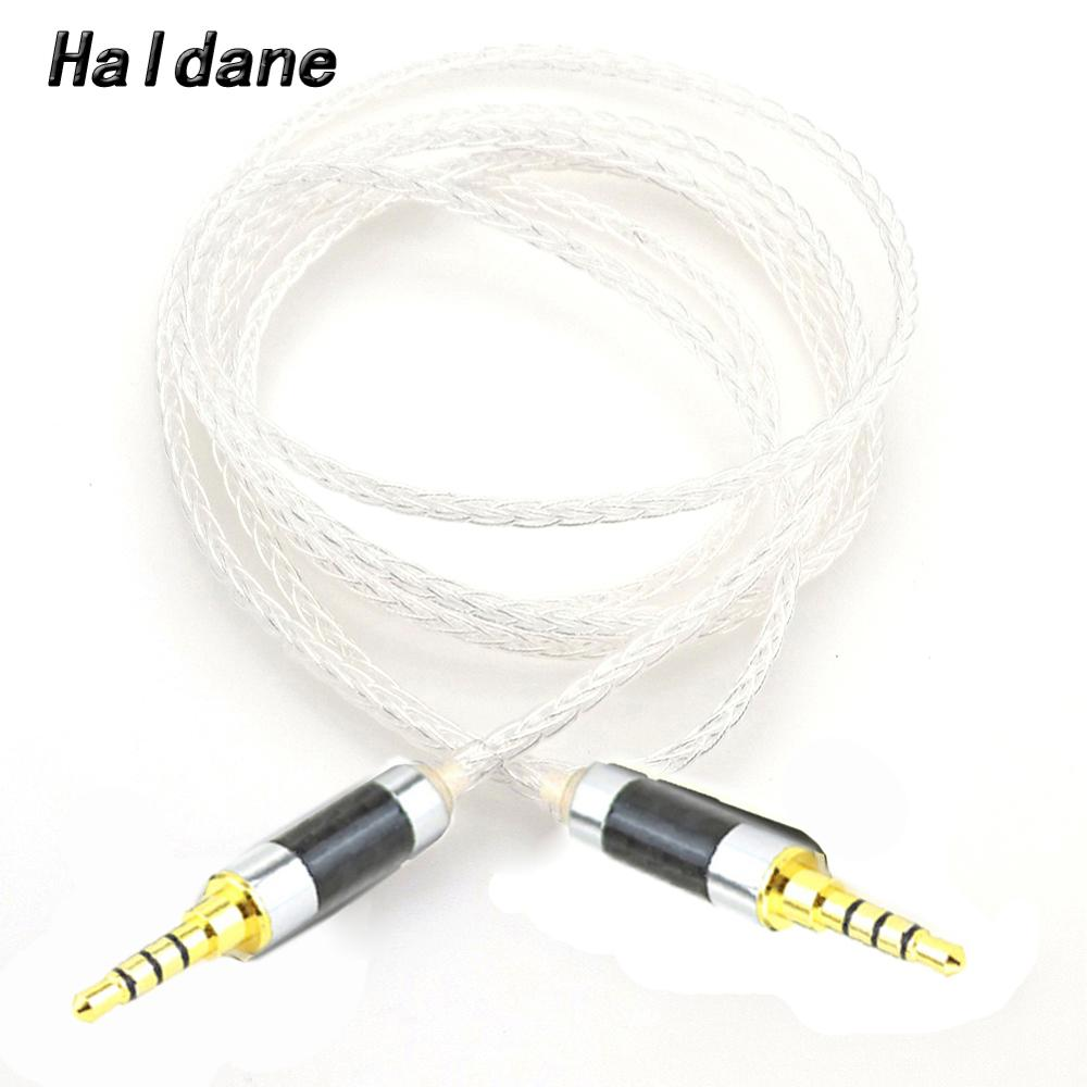 Haldane 3.5mm 4pin TRRS Balanced Male to 3.5mm TRRS Balanced Male Hi-End Audio Adapter 7N Silver Plated Cable