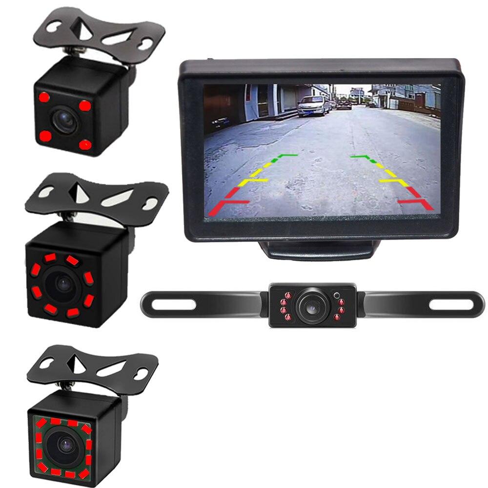 4,3 Monitor de coche de 5 pulgadas TFT LCD HD pantalla Digital para cámara de visión trasera inversa DVD VCD con cámara IR trasera de estacionamiento