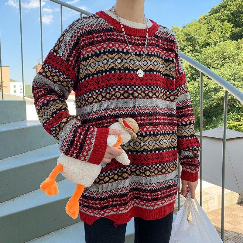 E-BAIHUI мужские корейские модные свитера пуловеры 2020 Мужская Уличная одежда модный вязаный Свитер оверсайз Осенние Топы оверсайз