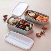 heated healthy material lunch box 2 layer wheat straw bento boxes microwave dinnerware food storage container lunchbox