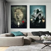black bad lion a suit canvas art posters and prints abstract lion smoking a cigar canvas paintings on the wall art pictures