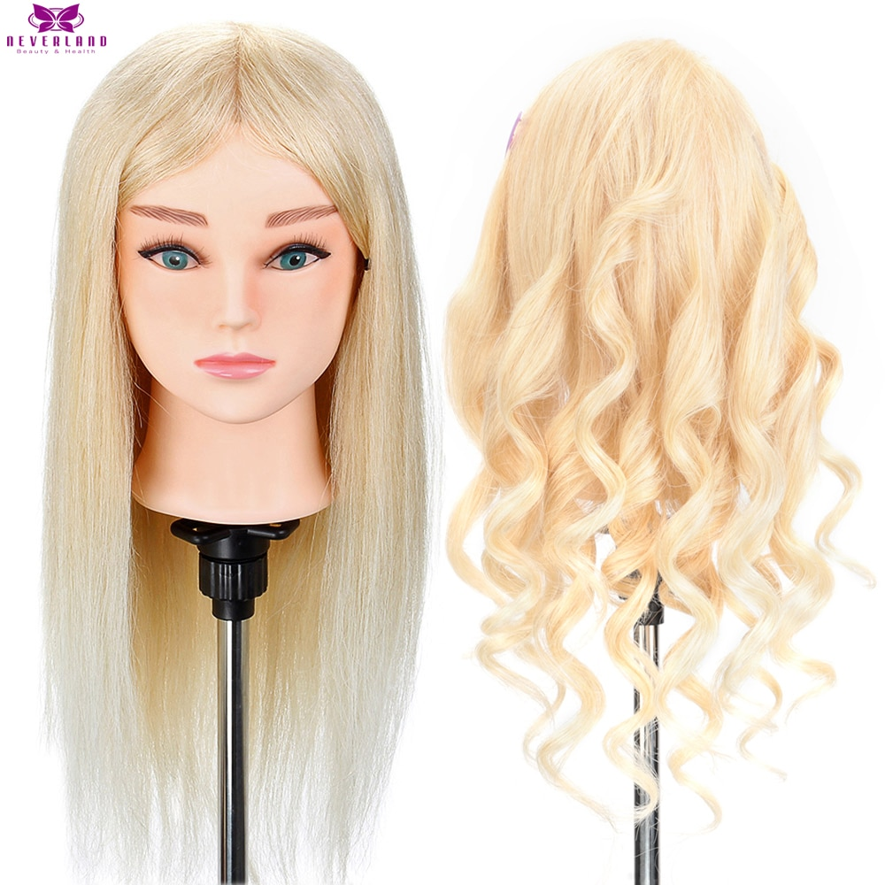 Hairdressing Mannequin Head 100% Real Human Hair for Hairstyles Hairdressers Curling Practice Traini