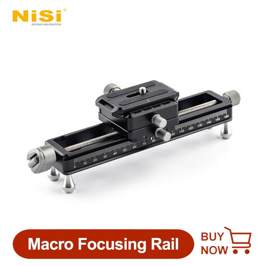 NISI NM-180 ماكرو التركيز السكك الحديدية المنزلق Arca-نوع مع الإفراج السريع كاميرا لوحية Gimbal دليل السكك الحديدية قوس حامل ماكرو اطلاق النار