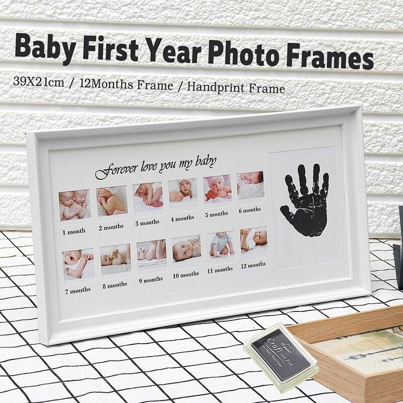 Marco de fotos de bebé lindo DIY estampado a mano o huella de 12 meses marco de fotos de bebé niño niña mi 1 año blanco tinta artesanal azul rosa