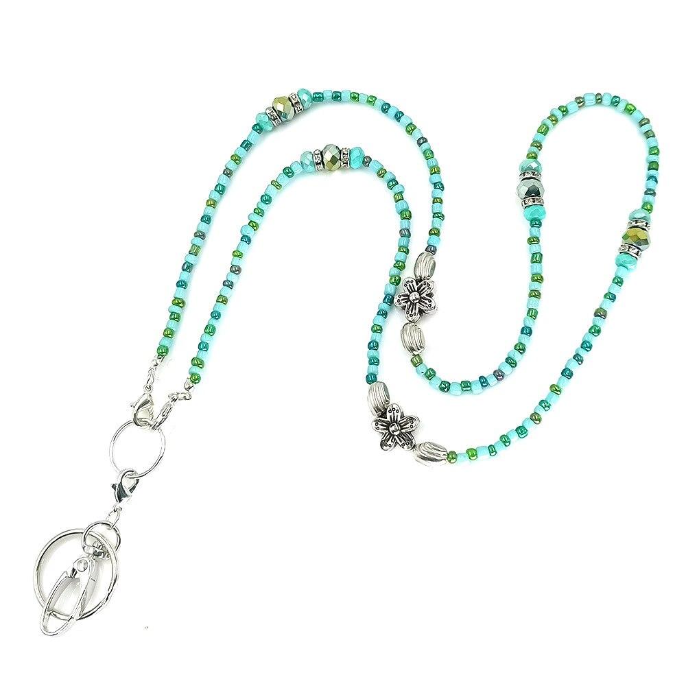 Women's Fashion Blue Glass Beads Lanyard Necklace ID Badge Holder Lanyard ID Necklace Lanyards with ID Holder Keychain Holder