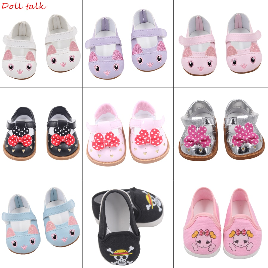 Cute Doll Shoes 7cm High-quality Bow Cartoon Skull Pattern Mini Shoes For 18 Inch American And Baby