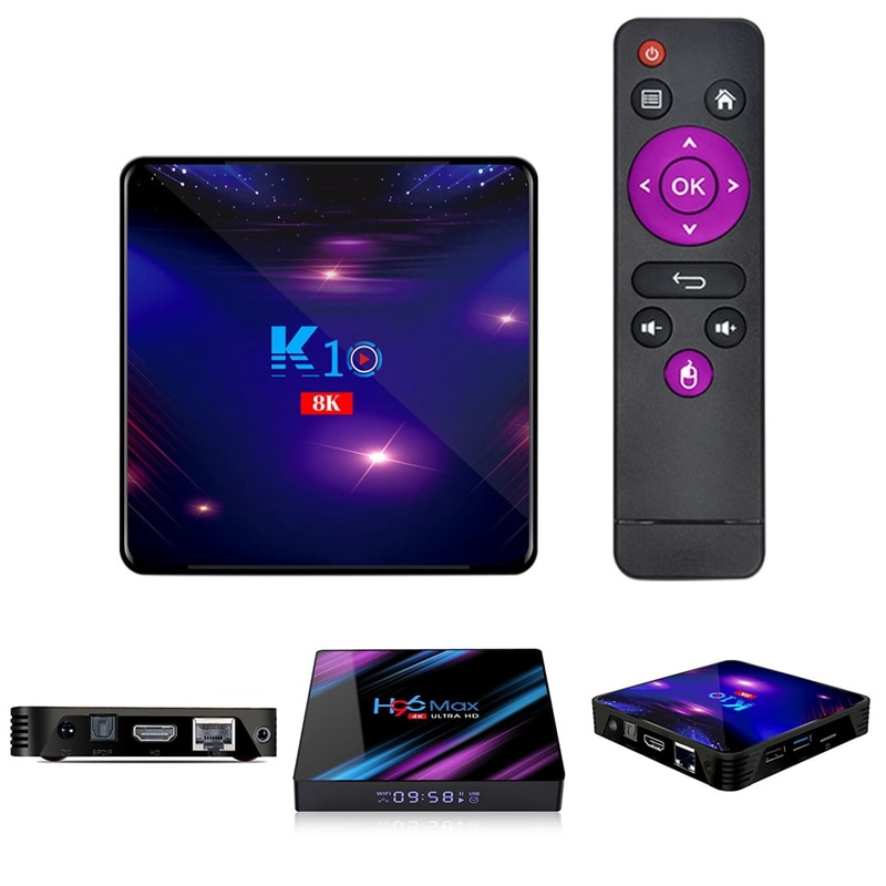 K10 مربع التلفزيون الذكية 4K 8K HD أندرويد 9.0 مشغل الوسائط 4GB بلوتوث 2.4G/5G واي فاي 4.1 مجموعة صندوق