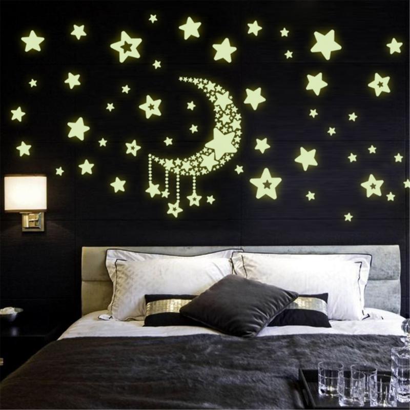 Luna estrella fluorescente, noctilucente resplandor nocturno en la oscuridad vinilo luminoso extraíble de vinilo, pegatinas de pared del dormitorio infantil
