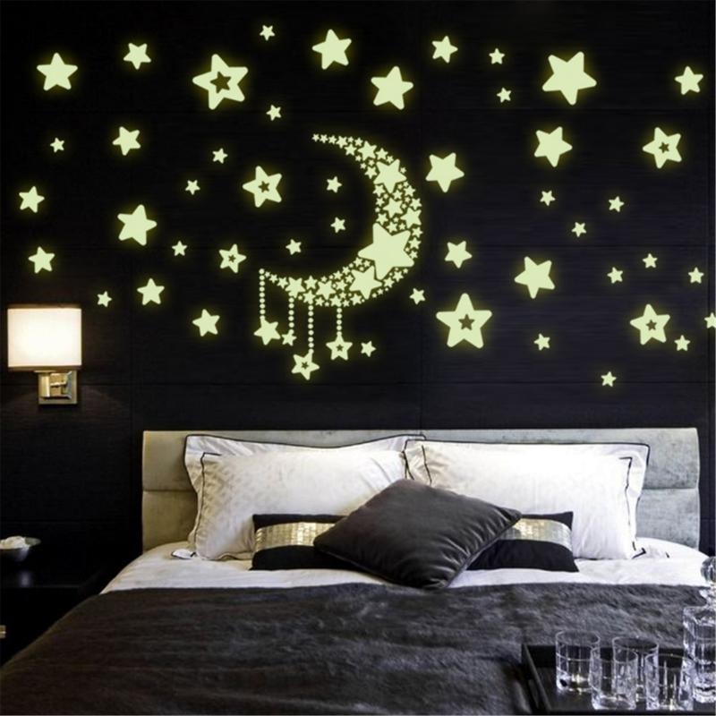 Moon Star Fluorescence Noctilucent Night Glow in Dark Luminous Vinyl Removable Nursery Kids Child Bedroom Wall Stickers