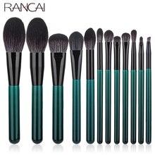 RANCAI 12pcs High Quality Makeup Brushes Set Foundation Powder Blush Eyeshadow Sponge Brush Wool Fiber Hair Cosmetic Tools