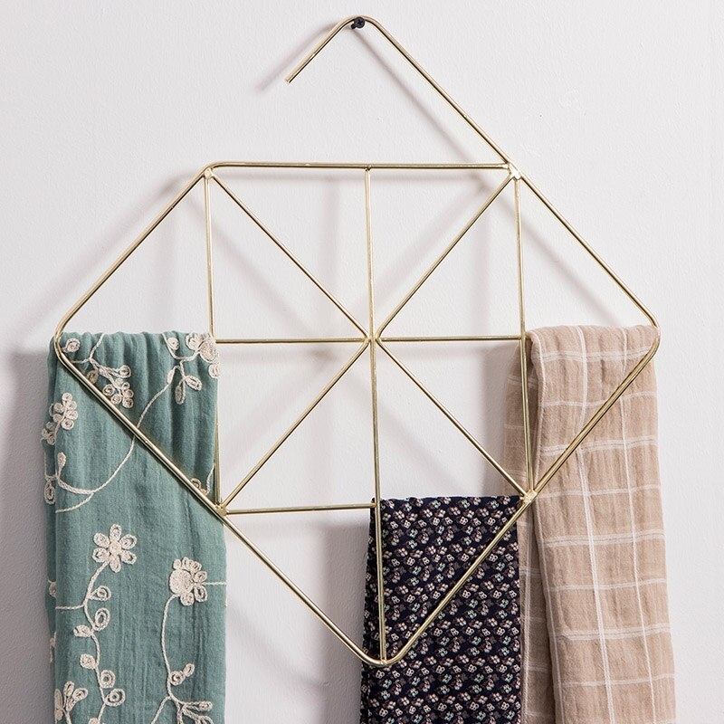 Creative Household Silk Scarf Rack Storage Finishing Tie Belt Holder Geometric Hangers Metal Scarf Shelf Display Stand Wall Hook