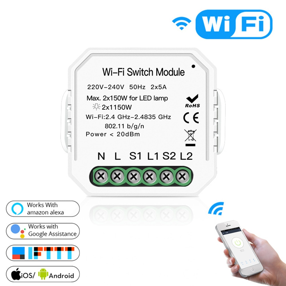 Portátil 2 gang 2 vias wi fi interruptor de luz inteligente diy disjuntor módulo vida inteligente/tuya controle inteligente apoio alexa google casa