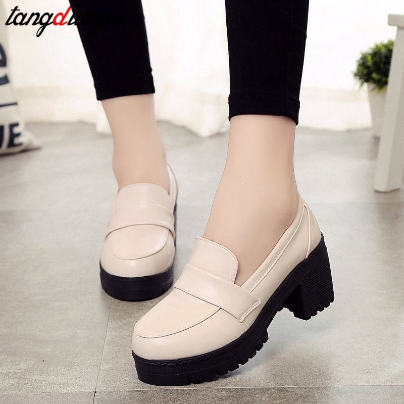 Japanese High School Student Shoes Girly Girl Lolita Shoes Cospaly Shoes JK Uniform PU Leather Loafers Casual Shoes japanese lolita shoes mary jane pu leather jk love girl student kawaii sweet round head waterproof black shoes anime cosplay
