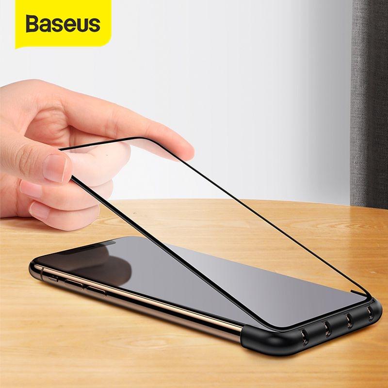 Protector de pantalla automático Baseus, ayudante de instalación de vidrio templado para iPhone X XS XR XS Max con función de organizador de Cable