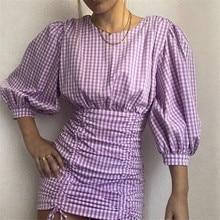 Vestido Sexy violeta de cuello redondo para mujer, vestido de verano de manga abombada con cordones para mujer, Mini vestido de fiesta para Club, Vestido corto para damas