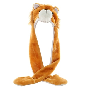 JOYHY Kid's Cute Plush Animal Brown Lion Hats with Paws Gloves for Womens Mens Teenagers Boys Girls Winter Cosplay Warm Beanie