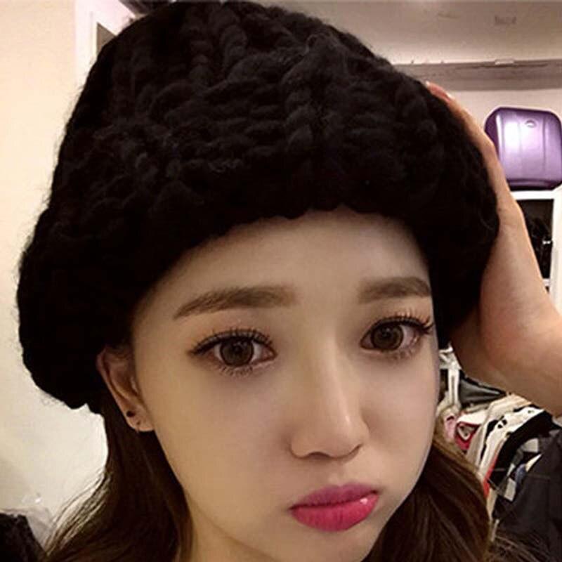 ¡Venta al por mayor! ¡nueva moda! Sombreros de lana de Invierno para mujer de acrílico de algodón Casual para niñas, gorros tejidos a mano gruesos, gorros para mujer