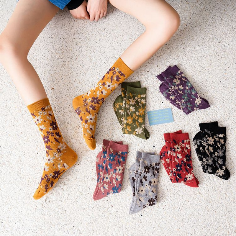 Fashion Mid-tube Socks Winter Socks Retro Socks Comfort Long Hosiery Women Socks Korea Style flower Print Socks Ins Style Socks