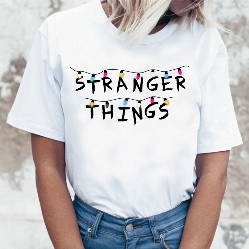 Stranger Things camiseta once Casual para mujer, camiseta, camiseta femenina, ropa Harajuku, divertida camiseta de película