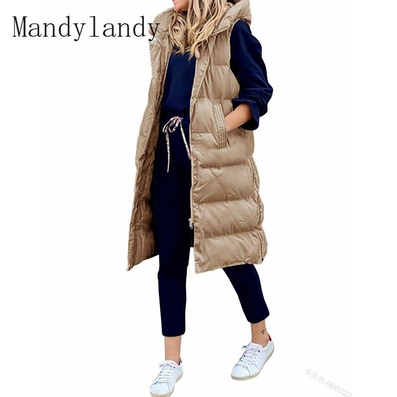 Парка Mandylandy, зимнее пальто, свободные однобортные парки без рукавов на молнии, женские повседневные однотонные парки с капюшоном и карманам...