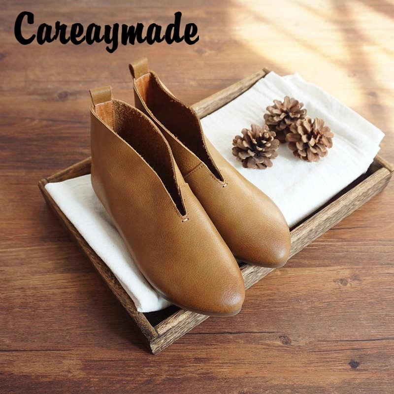 Careaymade-الذكية بسيطة مزاجه اليدوية المرأة حقيقية أحذية من الجلد والجلود والحبوب الكاملة لينة ومريحة حذاء من الجلد