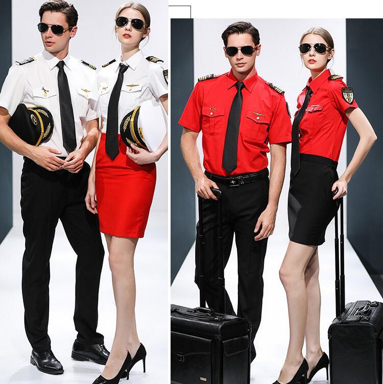 Hotel KTV Bar camarero ropa de trabajo Cosplay ropa de verano de manga corta avión capitán azafata trajes estándar uniforme de Estudiante
