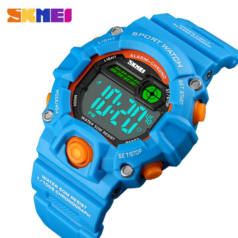 SKMEI NEW Kids Sport Watches Digital 50M Waterproof Plastic Case Alarm Boys Girls Colorful Children Wrist Watch Reloj waterproof children boys girls digital led quartz alarm date sports wrist watch new arrival freeshipping hot sales sport watches