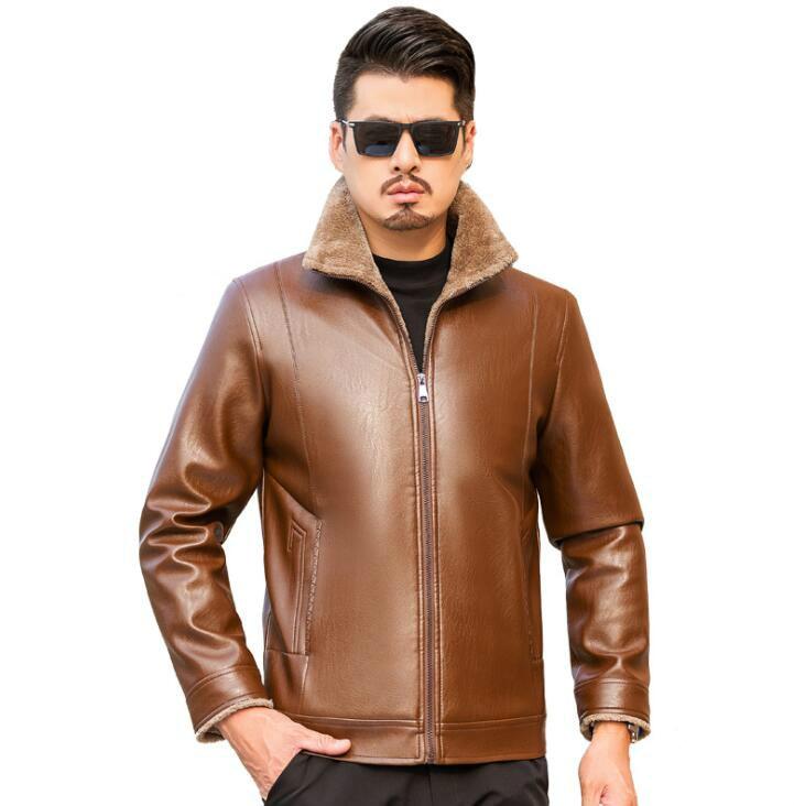 Além de veludo engrossar jaqueta de couro da motocicleta dos homens preto marrom jaquetas de couro casacos vendas diretas da fábrica b404