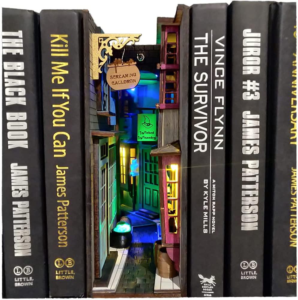 Волшебник MiniAlley Booknook, книжная полка, подставка, книжная полка, итальянская MiniAlley Booknook, средневековая MiniAlley Booknook, рождественские подарки