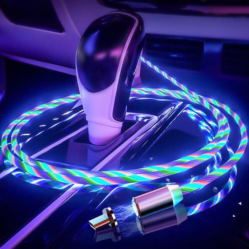 Car Phone Charging Flow Luminous Lighting Magnetic USB Cable For Peugeot 307 206 308 407 207 3008 406 208 508 301 2008 408 5008
