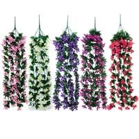 2 Bouquets de feuilles de lierre artificielles  guirlande de vigne  faux feuillage  panier mural suspendu  fleur dorchidee  decoration de fete de mariage  maison