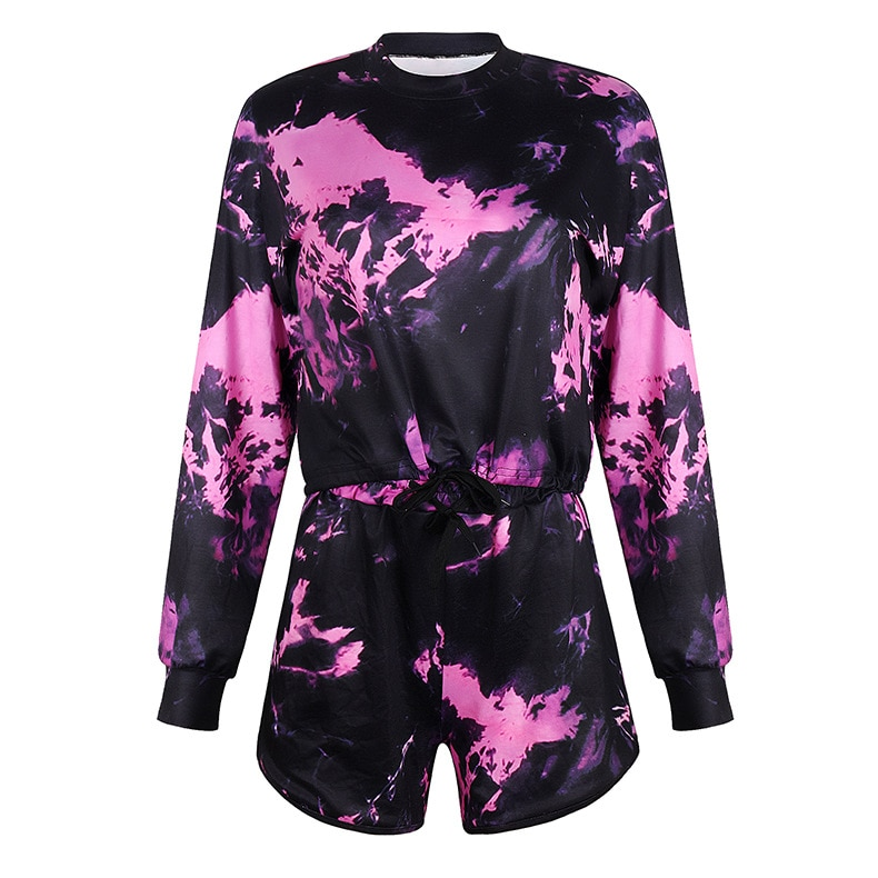 Fashion Tie-Dye Print 2 Piece Set Women Cropped Top and Short Pants Two Piece Outfits Plus Size Casual Tracksuit Streetwear Sets