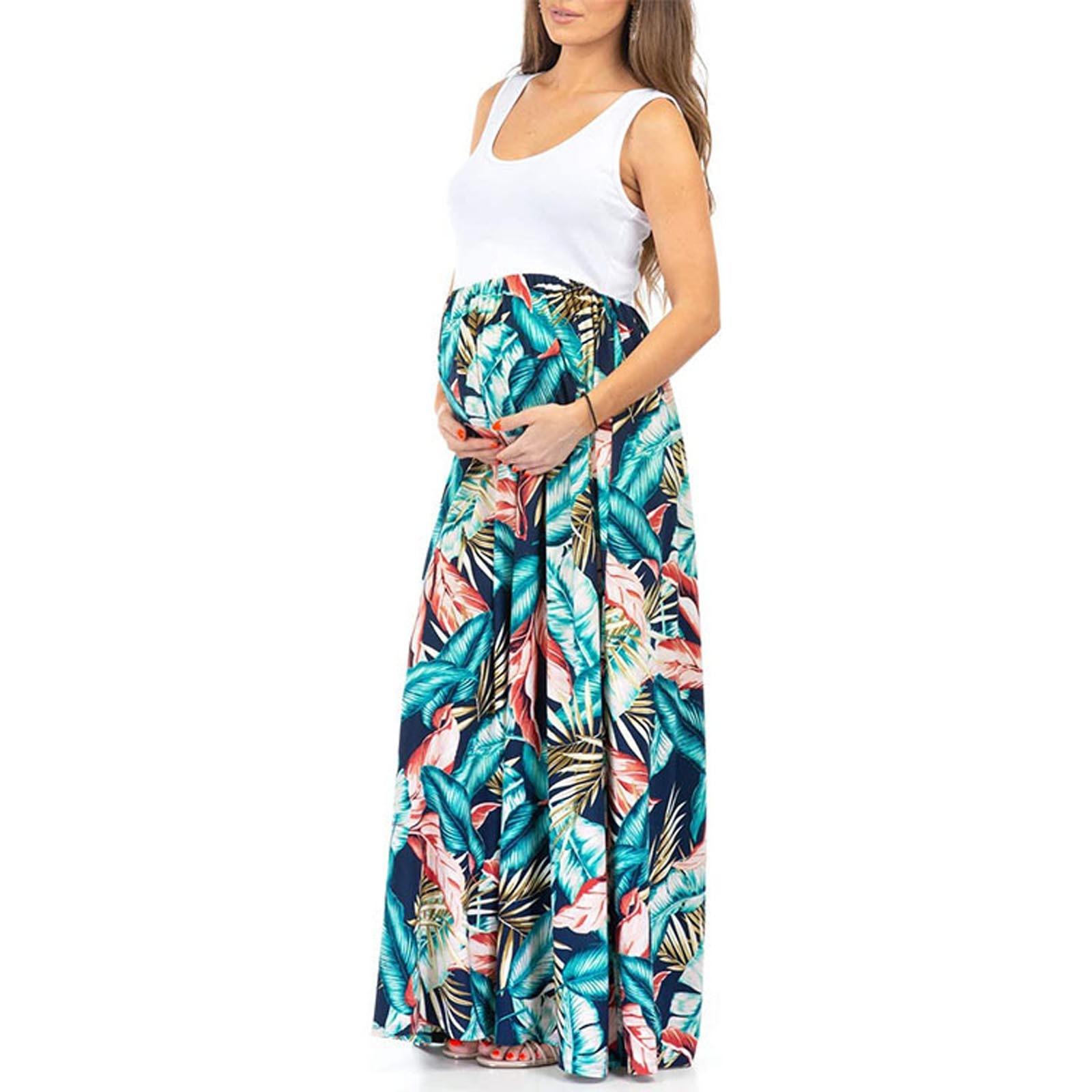 Ropa sin mangas para mujeres embarazadas, chaleco con estampado De hojas, Vestido Sexy informal De maternidad, Vestido informal para embarazadas